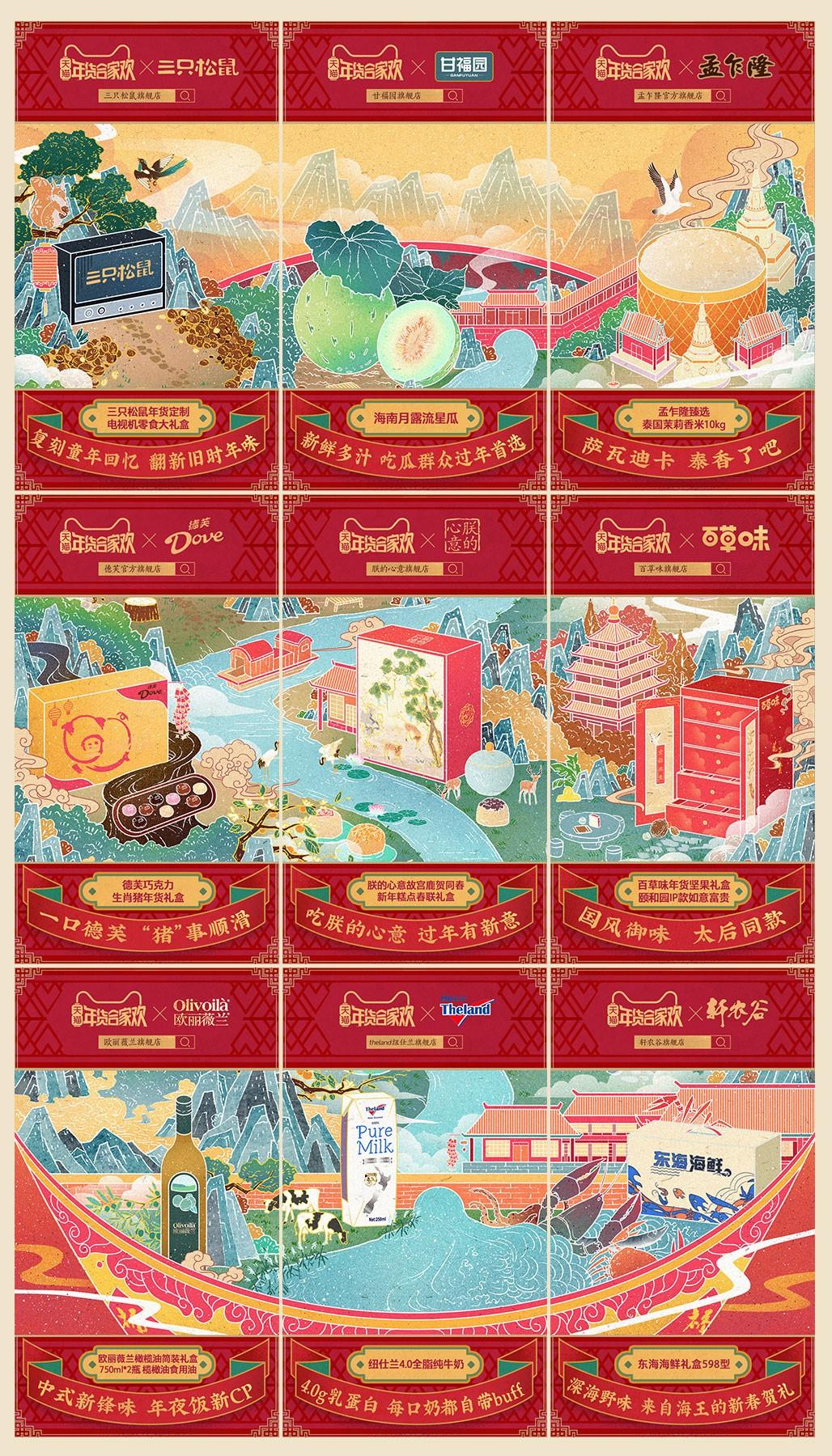 用九宫格的组合方式,拼出天猫年货节两个新年范儿的场景,拼在一起